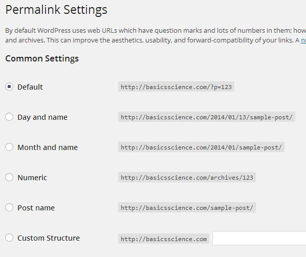 Permalinks Settings
