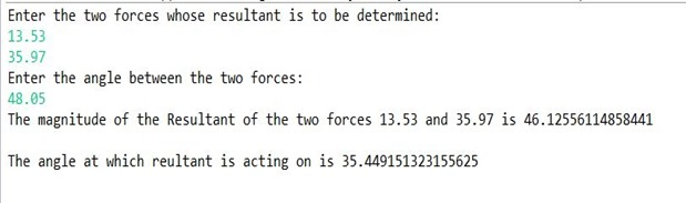 Resultant of forces-Math.java